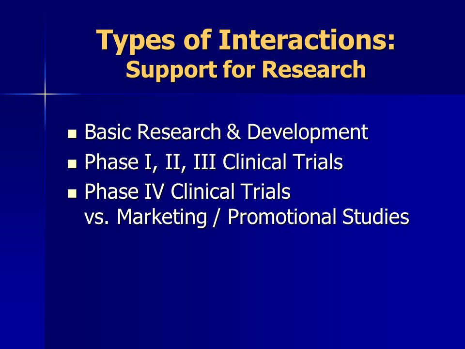 Types of Interactions: Support for Research Basic Research & Development Basic Research & Development Phase I, II, III Clinical Trials Phase I, II, III Clinical Trials Phase IV Clinical Trials vs.