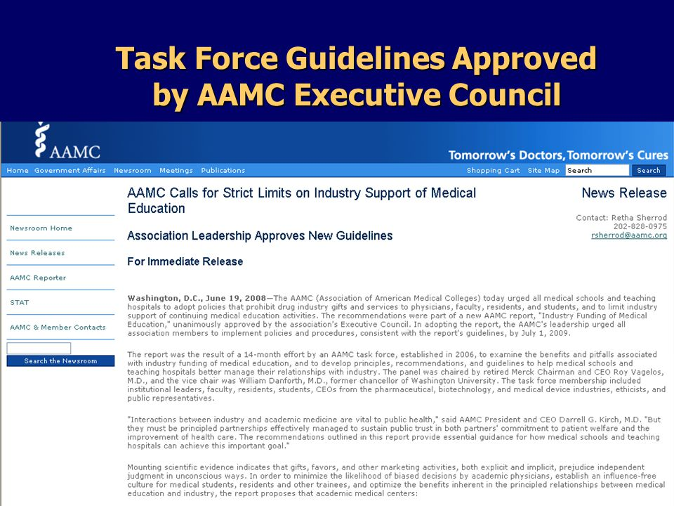 Task Force Guidelines Approved by AAMC Executive Council