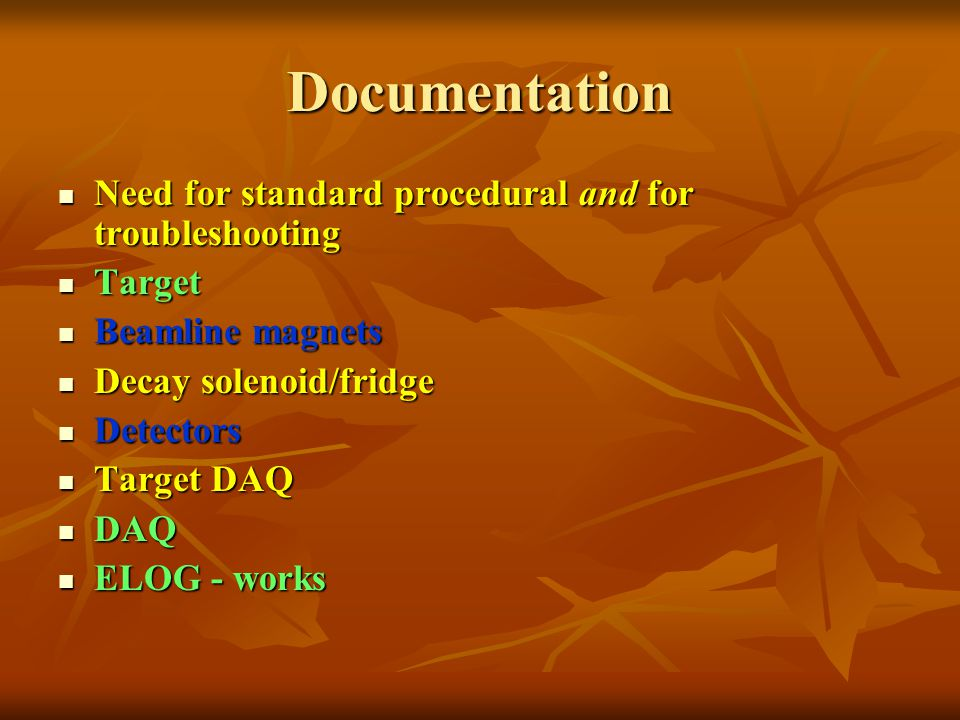 Documentation Need for standard procedural and for troubleshooting Need for standard procedural and for troubleshooting Target Target Beamline magnets Beamline magnets Decay solenoid/fridge Decay solenoid/fridge Detectors Detectors Target DAQ Target DAQ DAQ DAQ ELOG - works ELOG - works