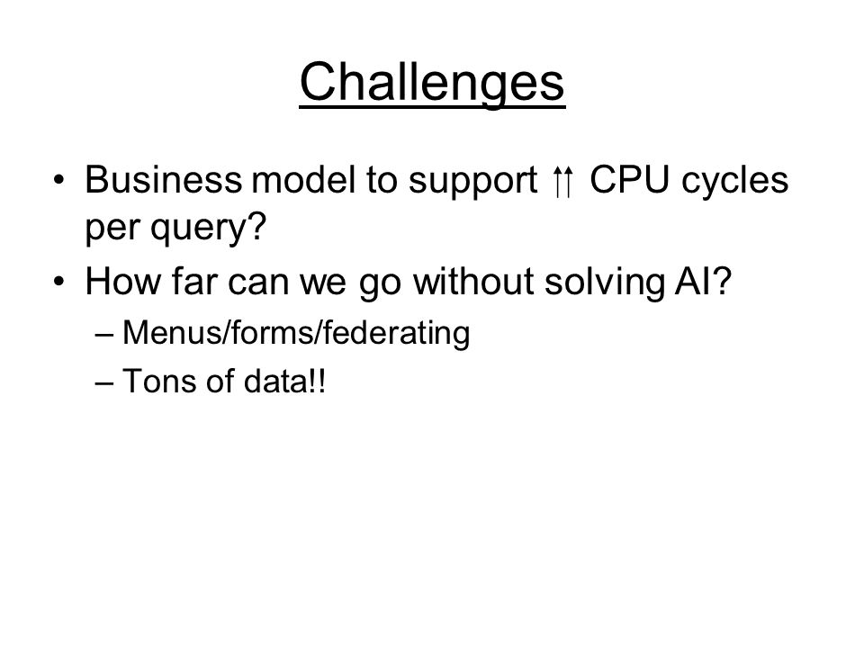Challenges Business model to support CPU cycles per query.