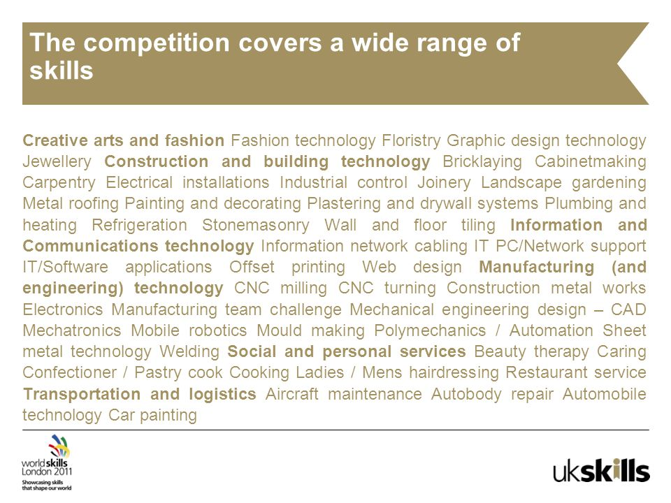 The competition covers a wide range of skills Creative arts and fashion Fashion technology Floristry Graphic design technology Jewellery Construction and building technology Bricklaying Cabinetmaking Carpentry Electrical installations Industrial control Joinery Landscape gardening Metal roofing Painting and decorating Plastering and drywall systems Plumbing and heating Refrigeration Stonemasonry Wall and floor tiling Information and Communications technology Information network cabling IT PC/Network support IT/Software applications Offset printing Web design Manufacturing (and engineering) technology CNC milling CNC turning Construction metal works Electronics Manufacturing team challenge Mechanical engineering design – CAD Mechatronics Mobile robotics Mould making Polymechanics / Automation Sheet metal technology Welding Social and personal services Beauty therapy Caring Confectioner / Pastry cook Cooking Ladies / Mens hairdressing Restaurant service Transportation and logistics Aircraft maintenance Autobody repair Automobile technology Car painting