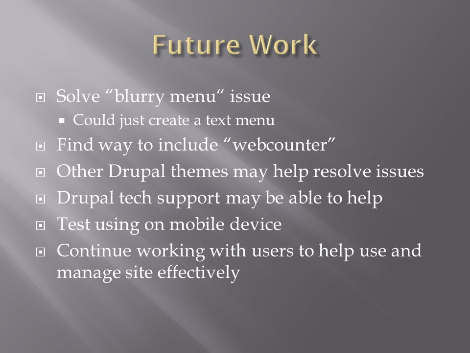 Solve blurry menu issue Could just create a text menu Find way to include webcounter Other Drupal themes may help resolve issues Drupal tech support may be able to help Test using on mobile device Continue working with users to help use and manage site effectively