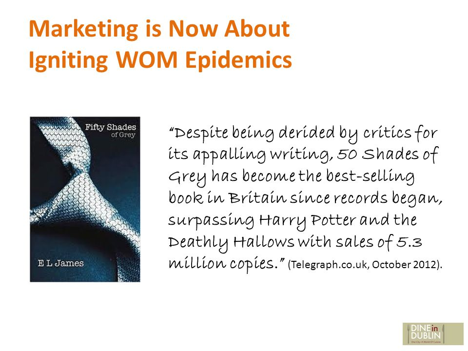 Marketing is Now About Igniting WOM Epidemics Despite being derided by critics for its appalling writing, 50 Shades of Grey has become the best-selling book in Britain since records began, surpassing Harry Potter and the Deathly Hallows with sales of 5.3 million copies.