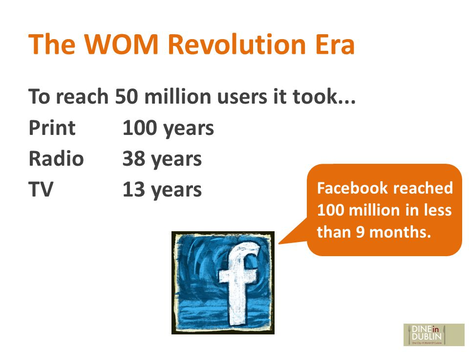 The WOM Revolution Era To reach 50 million users it took...