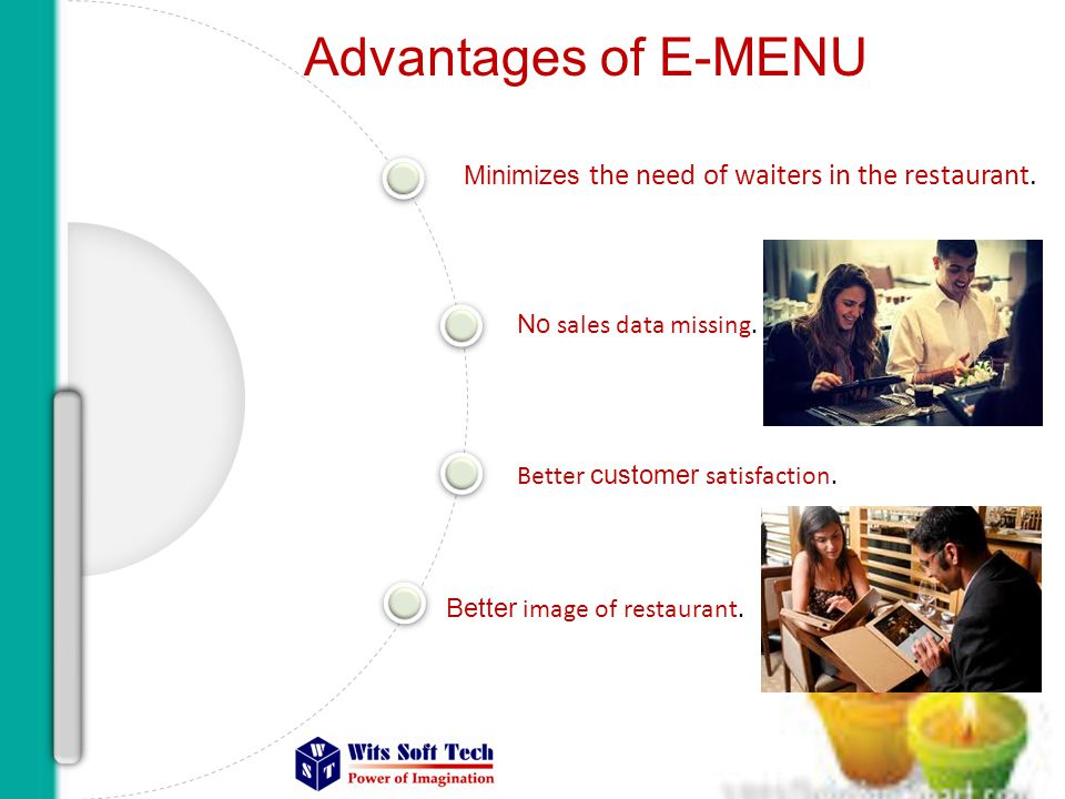 Advantages of E-MENU Minimizes the need of waiters in the restaurant.