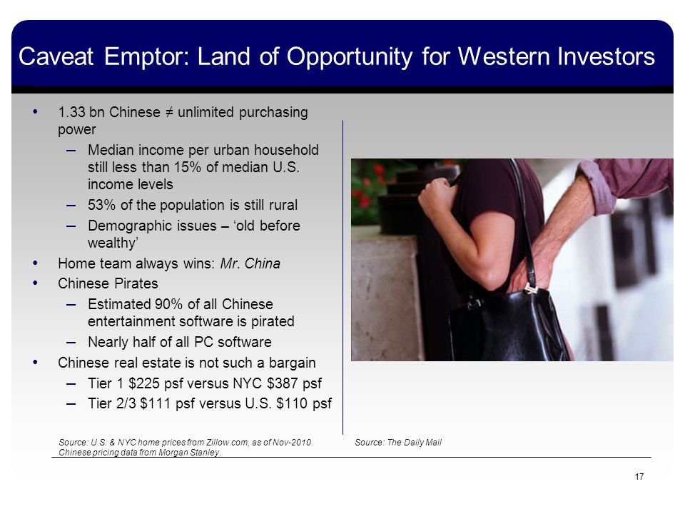 Caveat Emptor: Land of Opportunity for Western Investors 1.33 bn Chinese unlimited purchasing power – Median income per urban household still less than 15% of median U.S.