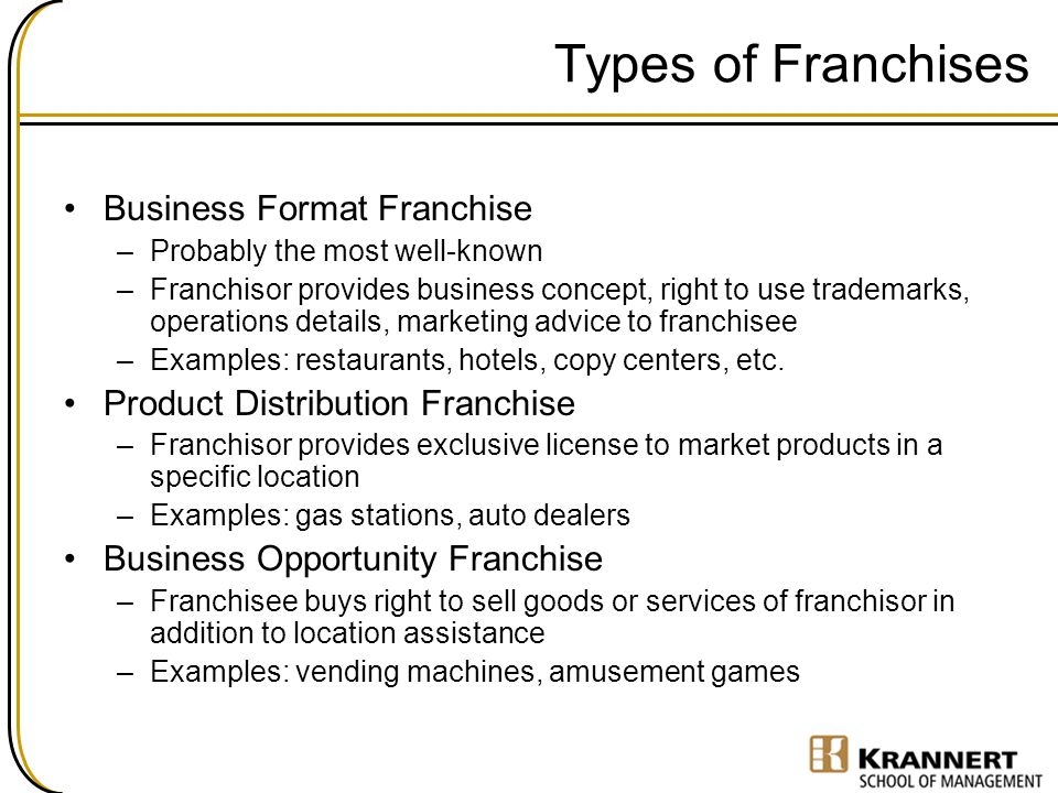 Examples of product distribution franchise.