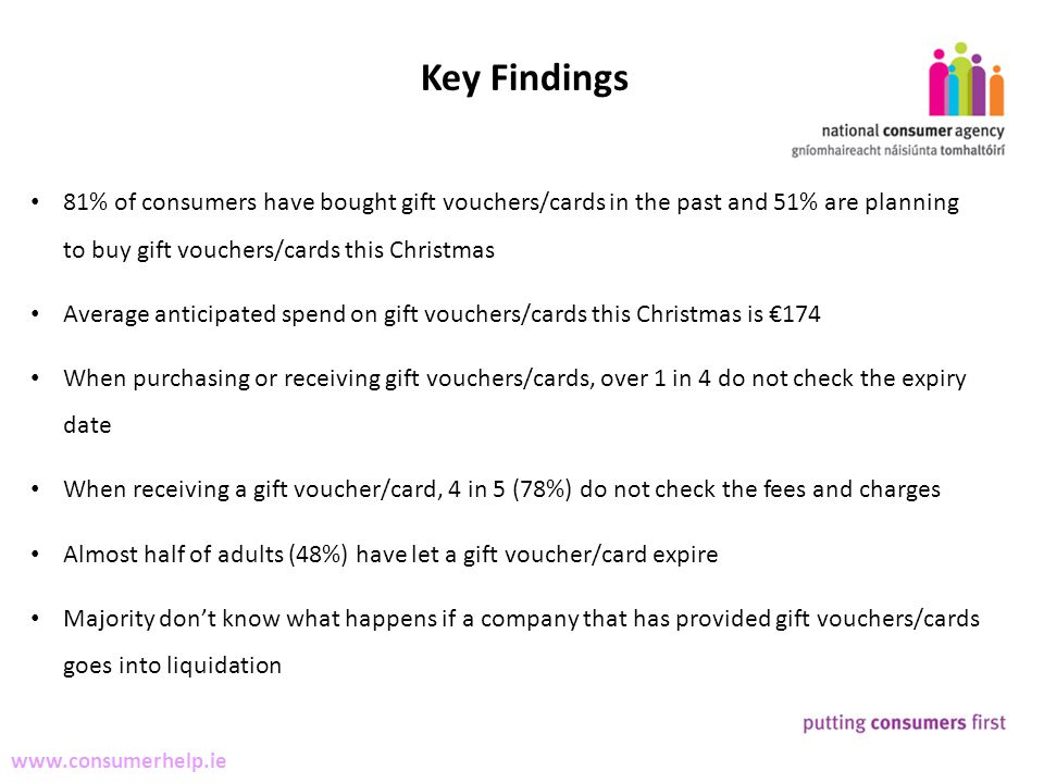 4 Making Complaints www.consumerhelp.ie Key Findings 81% of consumers have bought gift vouchers/cards in the past and 51% are planning to buy gift vouchers/cards this Christmas Average anticipated spend on gift vouchers/cards this Christmas is 174 When purchasing or receiving gift vouchers/cards, over 1 in 4 do not check the expiry date When receiving a gift voucher/card, 4 in 5 (78%) do not check the fees and charges Almost half of adults (48%) have let a gift voucher/card expire Majority dont know what happens if a company that has provided gift vouchers/cards goes into liquidation