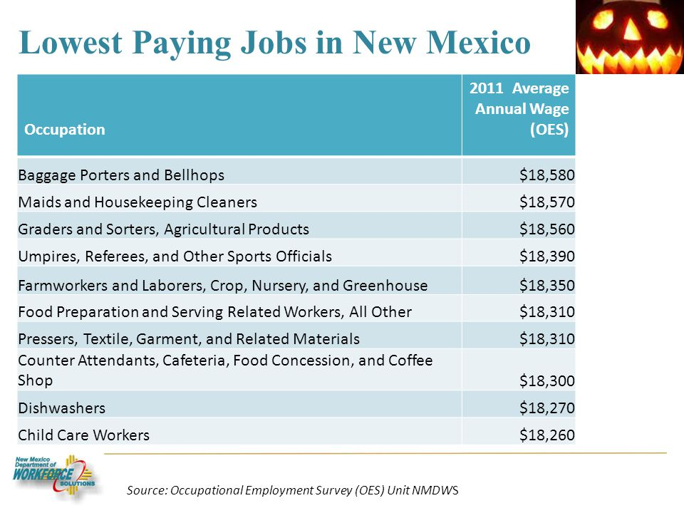 Lowest Paying Jobs in New Mexico Occupation 2011 Average Annual Wage (OES) Baggage Porters and Bellhops$18,580 Maids and Housekeeping Cleaners$18,570 Graders and Sorters, Agricultural Products$18,560 Umpires, Referees, and Other Sports Officials$18,390 Farmworkers and Laborers, Crop, Nursery, and Greenhouse$18,350 Food Preparation and Serving Related Workers, All Other$18,310 Pressers, Textile, Garment, and Related Materials$18,310 Counter Attendants, Cafeteria, Food Concession, and Coffee Shop$18,300 Dishwashers$18,270 Child Care Workers$18,260 Source: Occupational Employment Survey (OES) Unit NMDWS