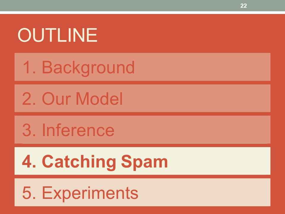 1. Background OUTLINE 2. Our Model 3. Inference 4. Catching Spam 5. Experiments 22