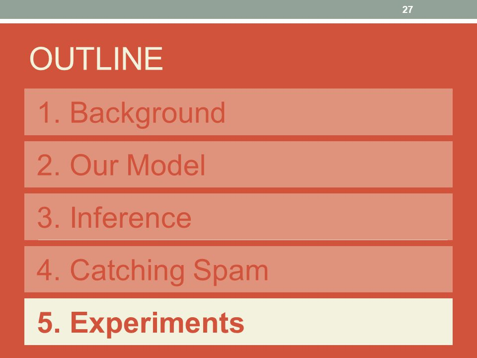 1. Background OUTLINE 2. Our Model 3. Inference 4. Catching Spam 5. Experiments 27