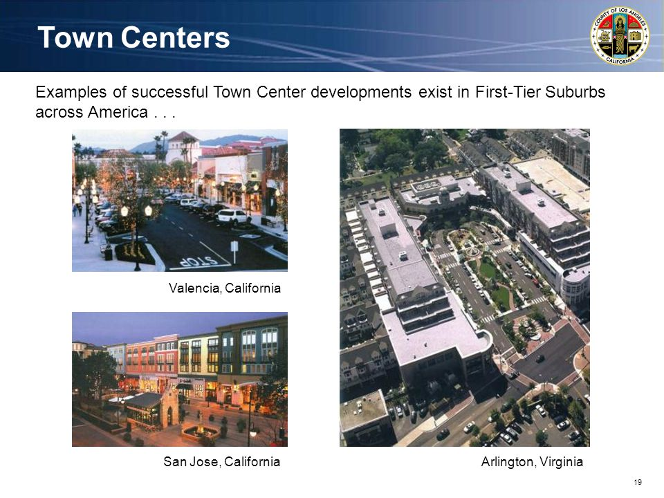19 Town Centers Examples of successful Town Center developments exist in First-Tier Suburbs across America...