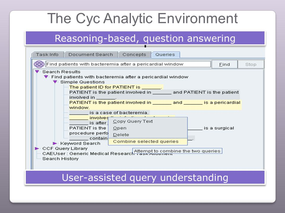 The Cyc Analytic Environment Reasoning-based, question answering User-assisted query understanding