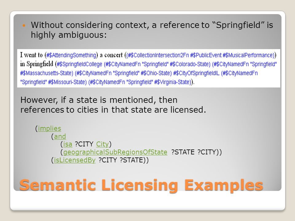 Semantic Licensing Examples Without considering context, a reference to Springfield is highly ambiguous: However, if a state is mentioned, then references to cities in that state are licensed.
