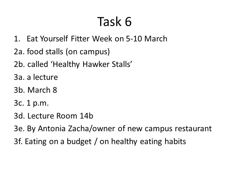 Task 6 1.Eat Yourself Fitter Week on 5-10 March 2a.