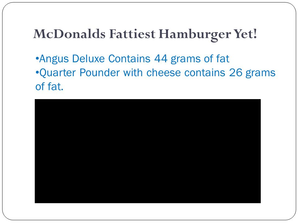 McDonalds Fattiest Hamburger Yet.