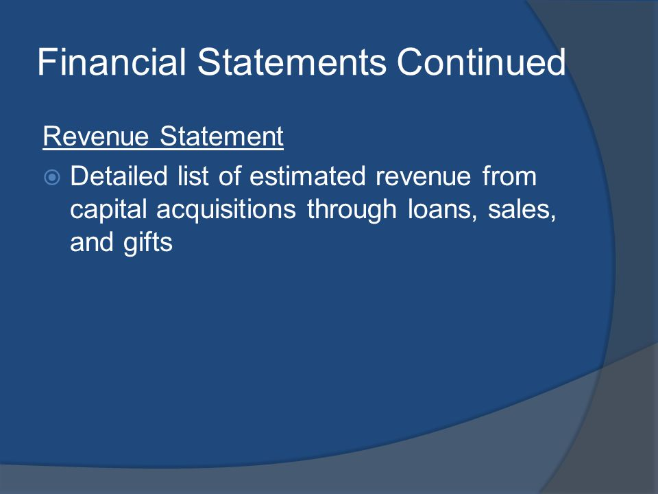 Financial Statements Continued Revenue Statement Detailed list of estimated revenue from capital acquisitions through loans, sales, and gifts
