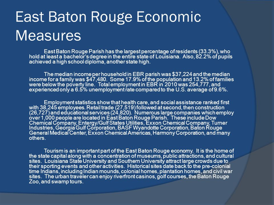 East Baton Rouge Economic Measures East Baton Rouge Parish has the largest percentage of residents (33.3%), who hold at least a bachelors degree in the entire state of Louisiana.