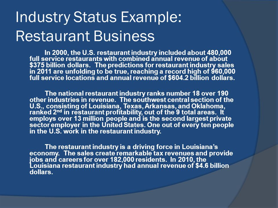 Industry Status Example: Restaurant Business In 2000, the U.S.