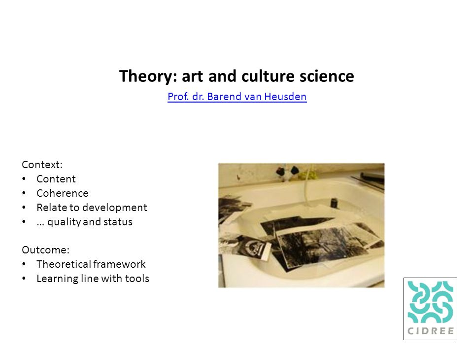 Theory: art and culture science Prof. dr.