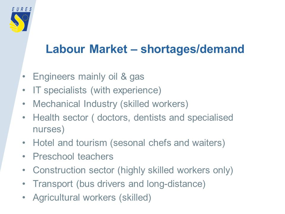 Labour Market – shortages/demand Engineers mainly oil & gas IT specialists (with experience) Mechanical Industry (skilled workers) Health sector ( doctors, dentists and specialised nurses) Hotel and tourism (sesonal chefs and waiters) Preschool teachers Construction sector (highly skilled workers only) Transport (bus drivers and long-distance) Agricultural workers (skilled)