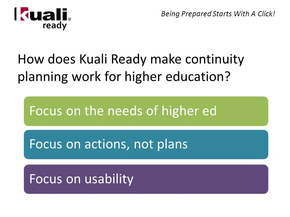 How does Kuali Ready make continuity planning work for higher education.