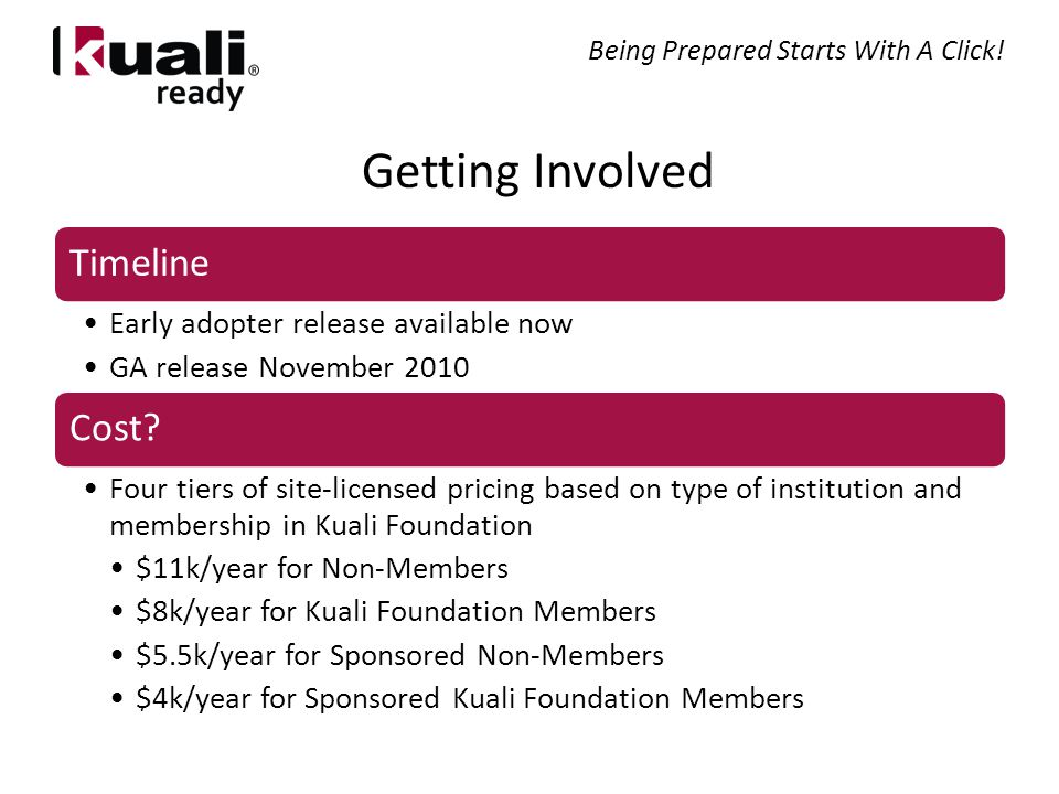 Getting Involved Timeline Early adopter release available now GA release November 2010 Cost.