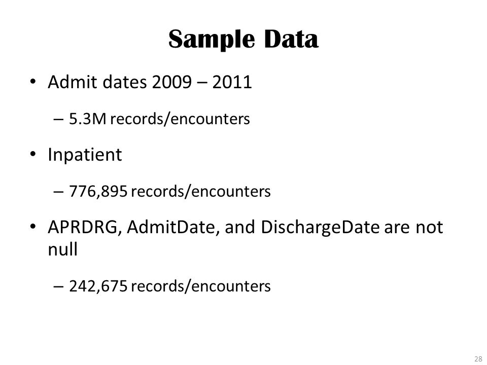 Sample Data Admit dates 2009 – 2011 – 5.3M records/encounters Inpatient – 776,895 records/encounters APRDRG, AdmitDate, and DischargeDate are not null – 242,675 records/encounters 28