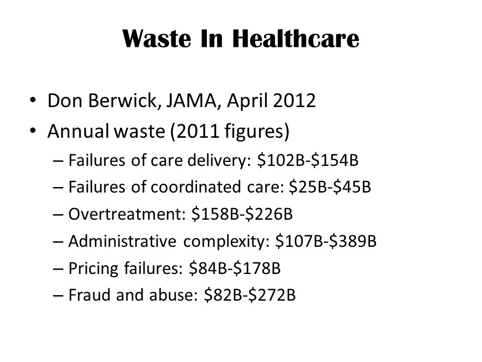 Waste In Healthcare Don Berwick, JAMA, April 2012 Annual waste (2011 figures) – Failures of care delivery: $102B-$154B – Failures of coordinated care: $25B-$45B – Overtreatment: $158B-$226B – Administrative complexity: $107B-$389B – Pricing failures: $84B-$178B – Fraud and abuse: $82B-$272B