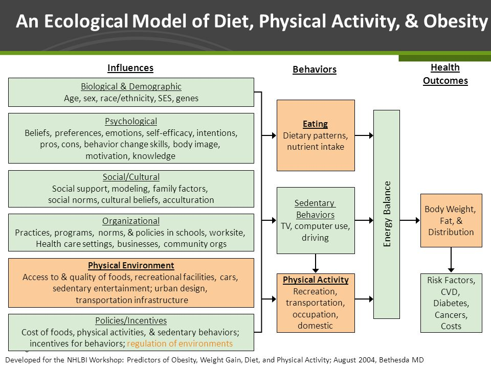 Page 33 An Ecological Model of Diet, Physical Activity, & Obesity Health Outcomes Behaviors Influences Developed for the NHLBI Workshop: Predictors of Obesity, Weight Gain, Diet, and Physical Activity; August 2004, Bethesda MD Energy Balance Eating Dietary patterns, nutrient intake Sedentary Behaviors TV, computer use, driving Physical Activity Recreation, transportation, occupation, domestic Body Weight, Fat, & Distribution Risk Factors, CVD, Diabetes, Cancers, Costs Biological & Demographic Age, sex, race/ethnicity, SES, genes Psychological Beliefs, preferences, emotions, self-efficacy, intentions, pros, cons, behavior change skills, body image, motivation, knowledge Social/Cultural Social support, modeling, family factors, social norms, cultural beliefs, acculturation Physical Environment Access to & quality of foods, recreational facilities, cars, sedentary entertainment; urban design, transportation infrastructure Policies/Incentives Cost of foods, physical activities, & sedentary behaviors; incentives for behaviors; regulation of environments Organizational Practices, programs, norms, & policies in schools, worksite, Health care settings, businesses, community orgs