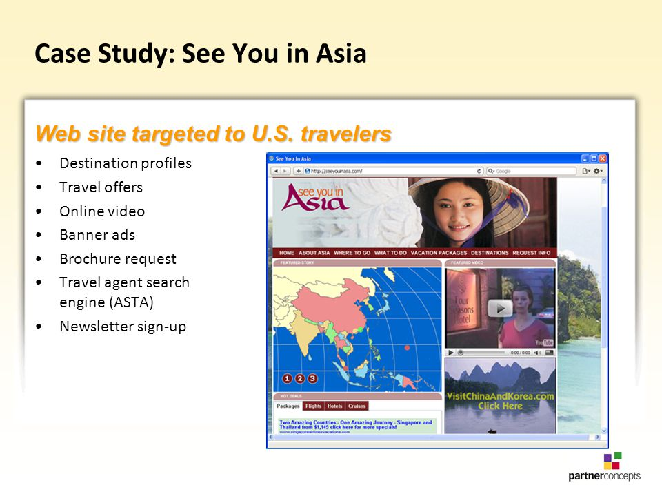 Case Study: See You in Asia Destination profiles Travel offers Online video Banner ads Brochure request Travel agent search engine (ASTA) Newsletter sign-up Web site targeted to U.S.