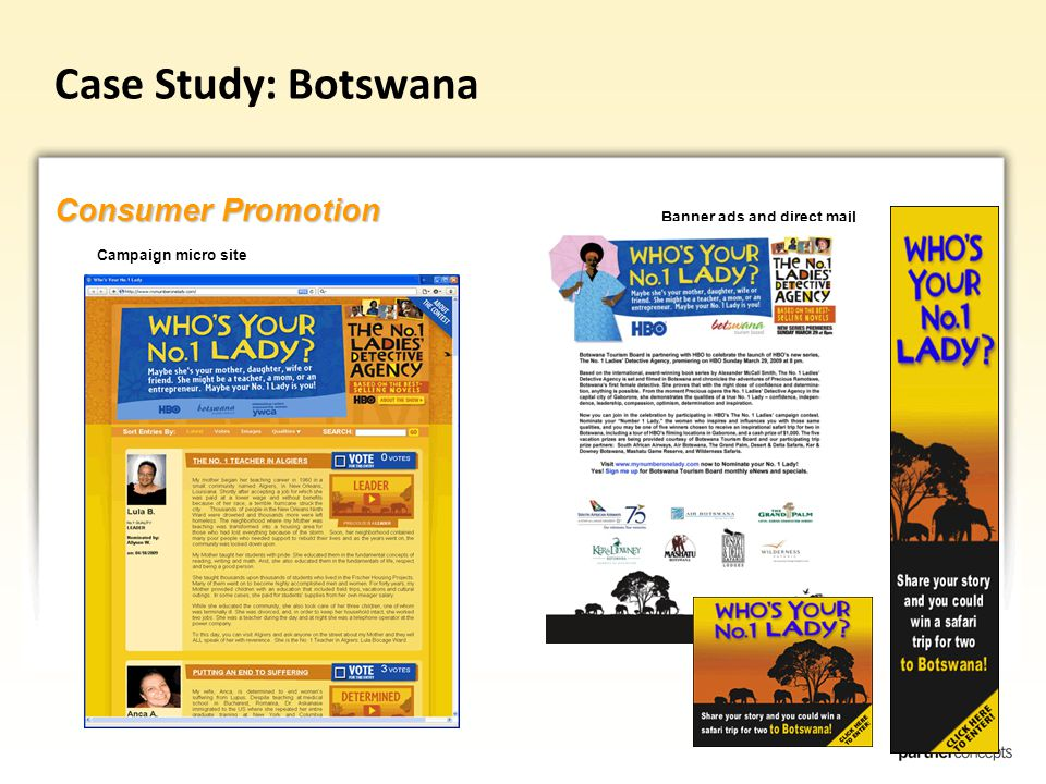 Case Study: Botswana Consumer Promotion Campaign micro site Banner ads and direct mail