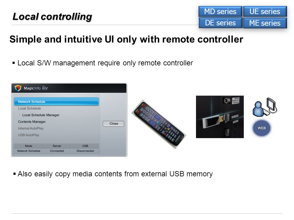 Local controlling Simple and intuitive UI only with remote controller Local S/W management require only remote controller Also easily copy media contents from external USB memory DE series ME series UE series MD series