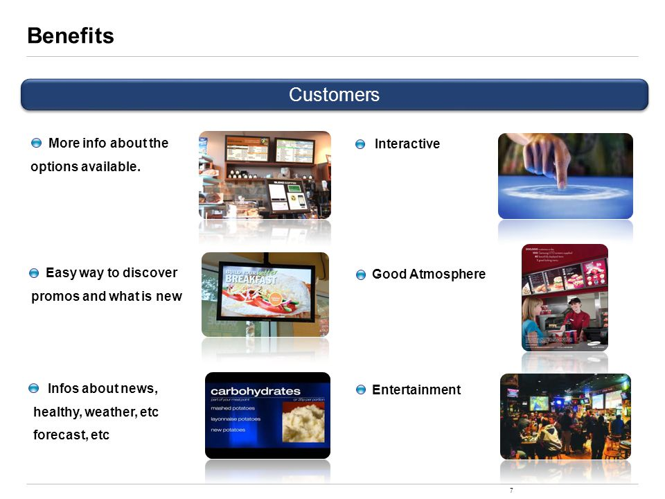 7 Benefits Customers Easy way to discover promos and what is new Interactive Good Atmosphere Entertainment Infos about news, healthy, weather, etc forecast, etc More info about the options available.