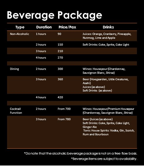 Beverage Package *Do note that the alcoholic beverage package is not on a free flow basis.
