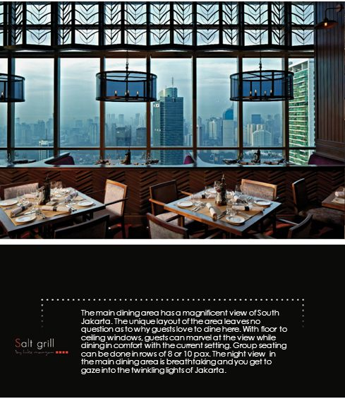 The main dining area has a magnificent view of South Jakarta.