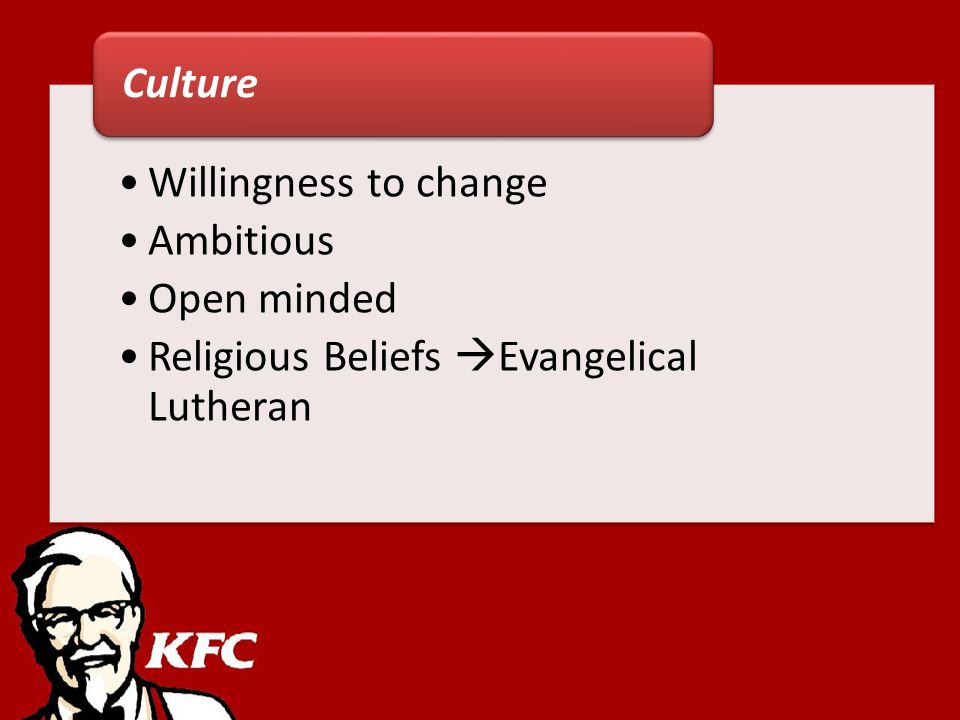 Willingness to change Ambitious Open minded Religious Beliefs Evangelical Lutheran Culture