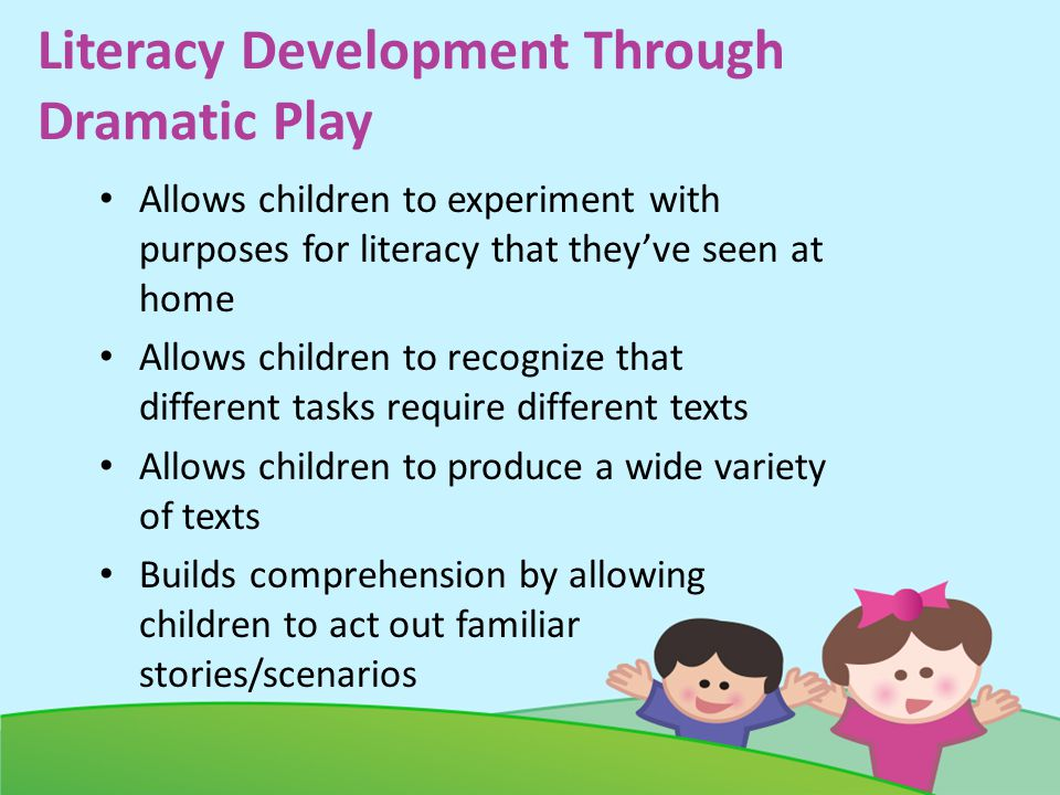 Literacy Development Through Dramatic Play Allows children to experiment with purposes for literacy that theyve seen at home Allows children to recognize that different tasks require different texts Allows children to produce a wide variety of texts Builds comprehension by allowing children to act out familiar stories/scenarios
