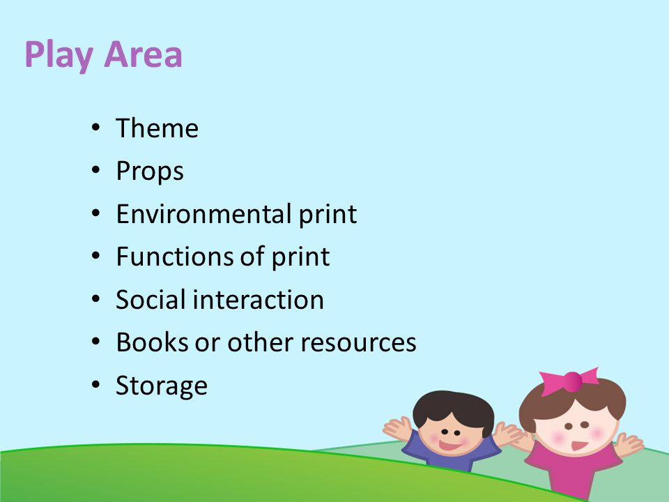 Play Area Theme Props Environmental print Functions of print Social interaction Books or other resources Storage