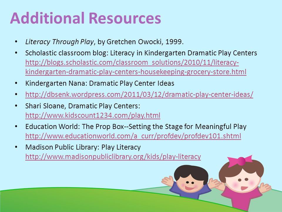 Additional Resources Literacy Through Play, by Gretchen Owocki, 1999.