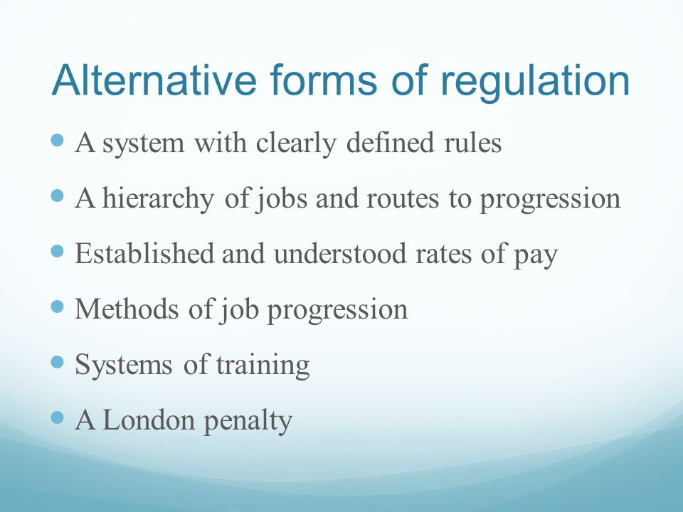 A system with clearly defined rules A hierarchy of jobs and routes to progression Established and understood rates of pay Methods of job progression Systems of training A London penalty Alternative forms of regulation