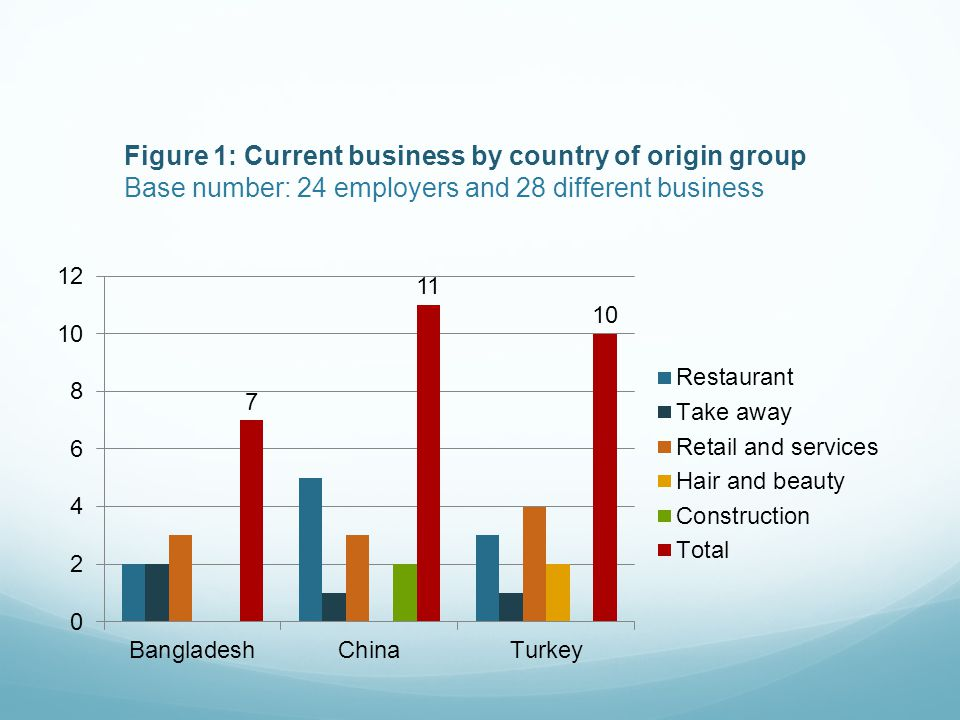 Figure 1: Current business by country of origin group Base number: 24 employers and 28 different business