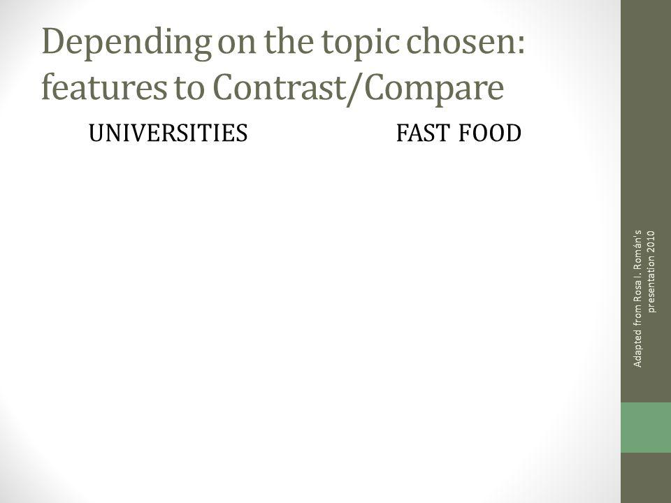 Depending on the topic chosen: features to Contrast/Compare UNIVERSITIESFAST FOOD Adapted from Rosa I.
