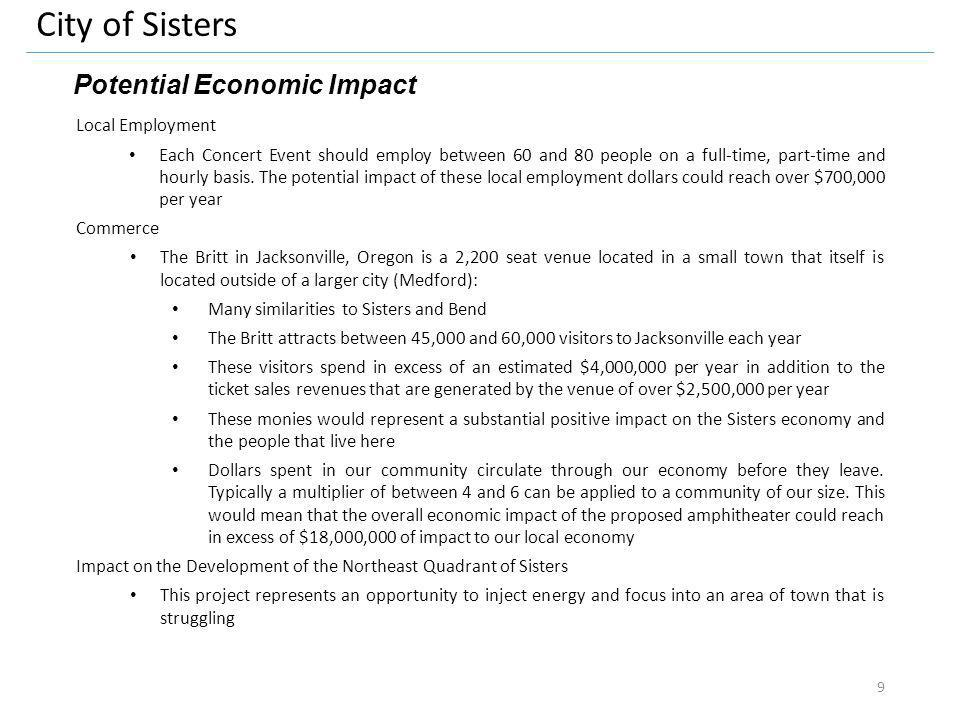 City of Sisters Potential Economic Impact Local Employment Each Concert Event should employ between 60 and 80 people on a full-time, part-time and hourly basis.