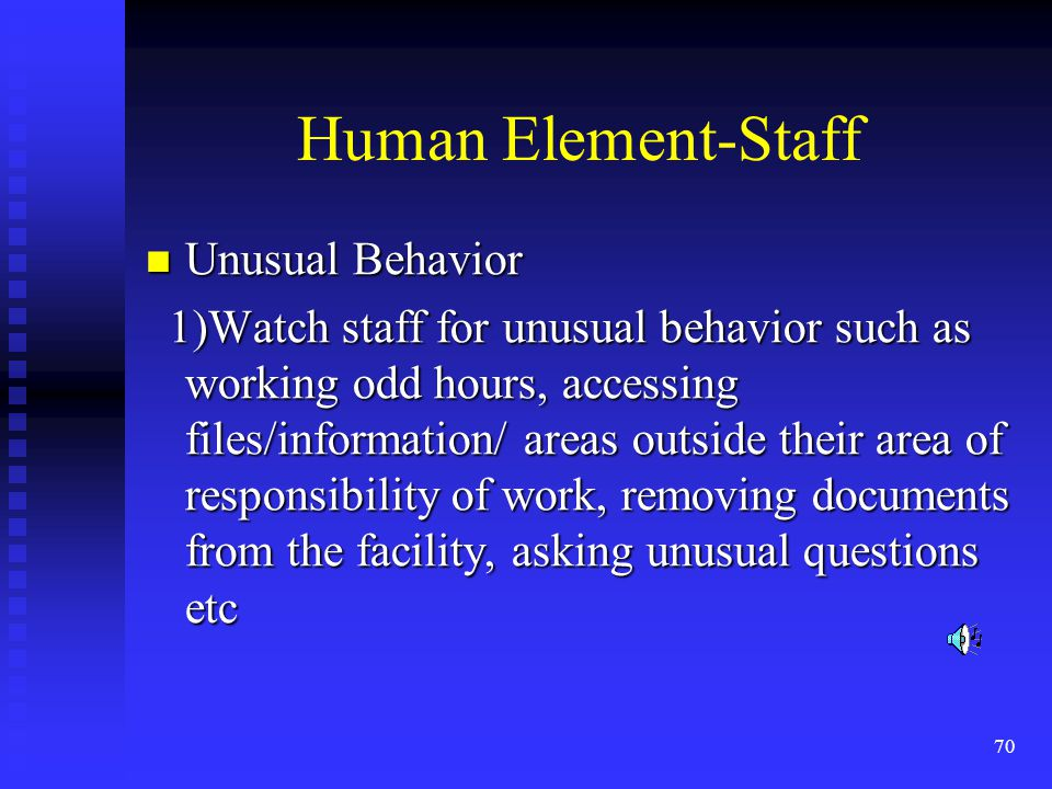 70 Human Element-Staff Unusual Behavior Unusual Behavior 1)Watch staff for unusual behavior such as working odd hours, accessing files/information/ areas outside their area of responsibility of work, removing documents from the facility, asking unusual questions etc 1)Watch staff for unusual behavior such as working odd hours, accessing files/information/ areas outside their area of responsibility of work, removing documents from the facility, asking unusual questions etc