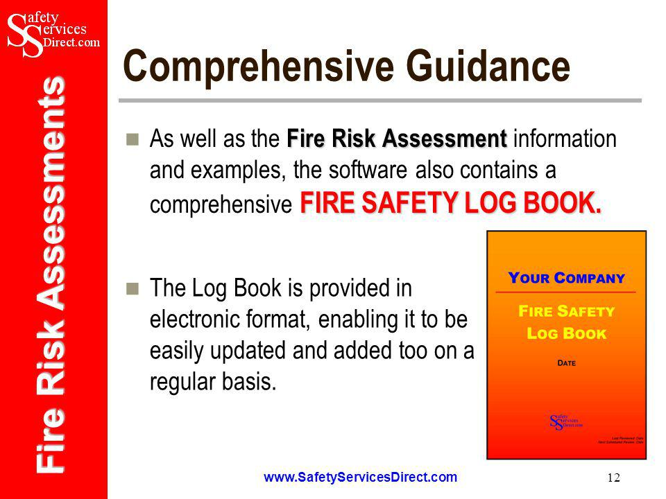 Fire Risk Assessments   12 Comprehensive Guidance Fire Risk Assessment FIRE SAFETY LOG BOOK.