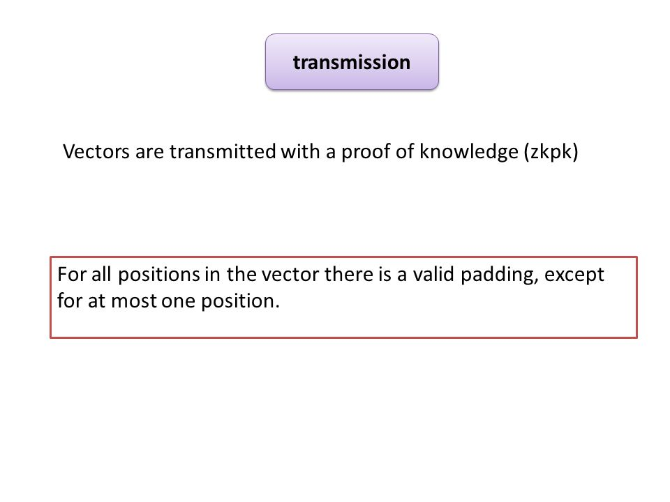 Vectors are transmitted with a proof of knowledge (zkpk) transmission For all positions in the vector there is a valid padding, except for at most one position.