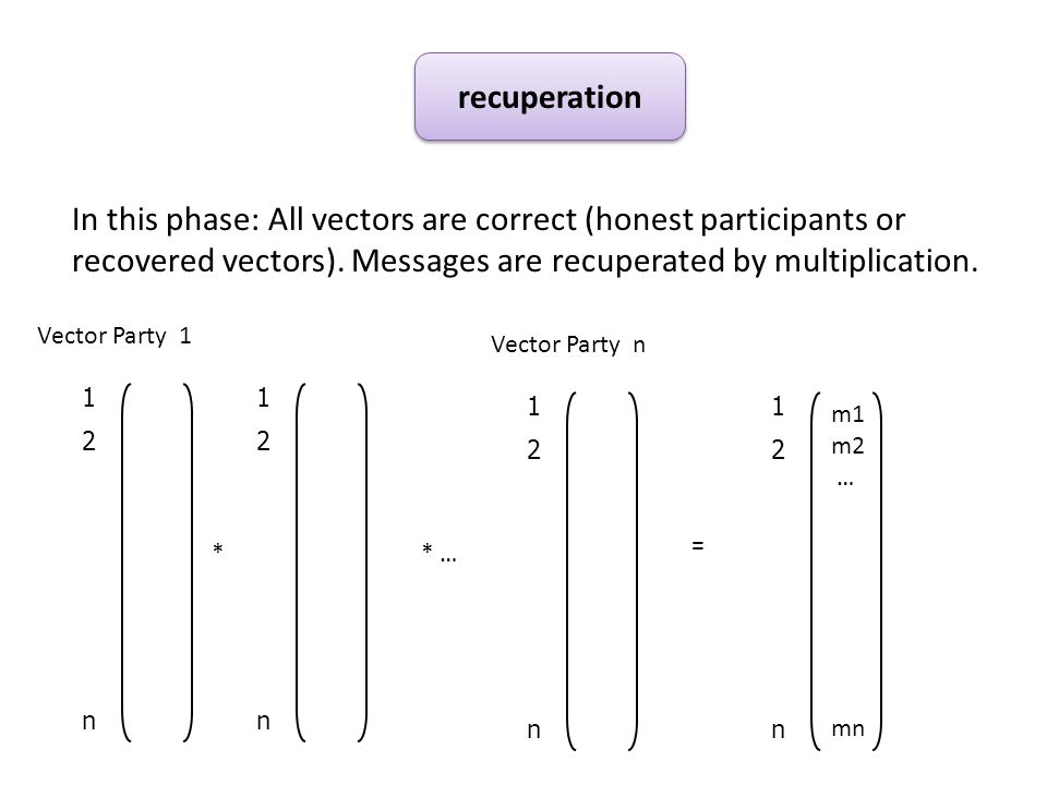 In this phase: All vectors are correct (honest participants or recovered vectors).