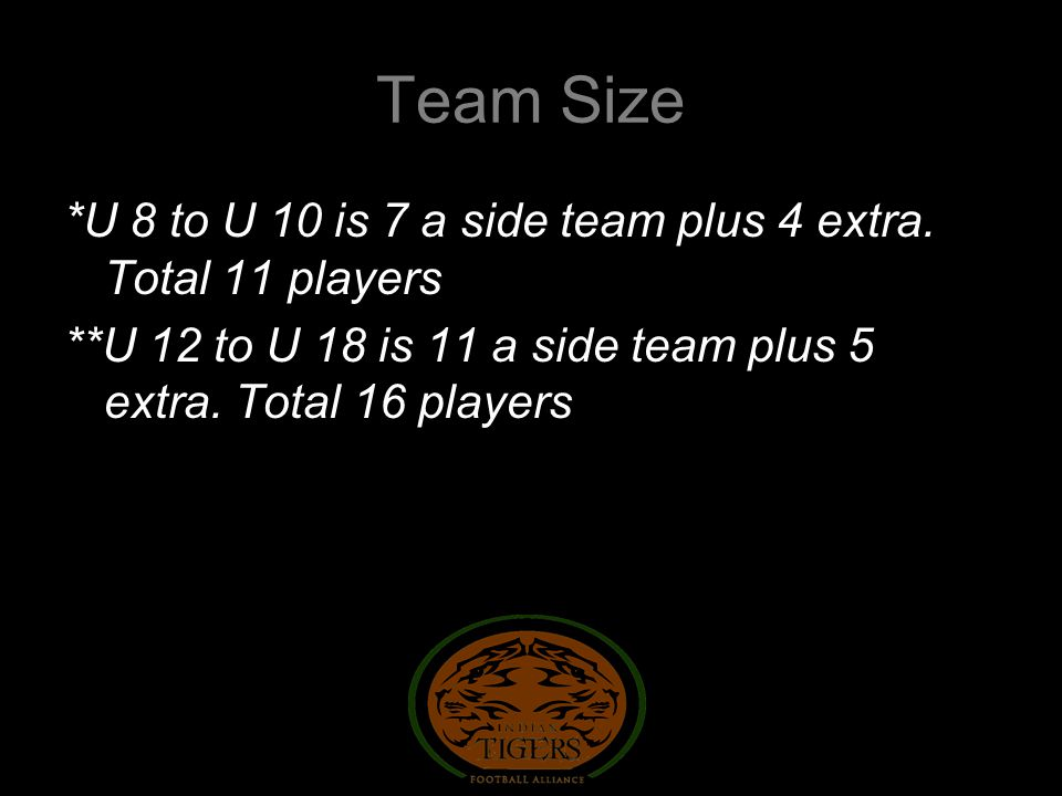 Team Size *U 8 to U 10 is 7 a side team plus 4 extra.
