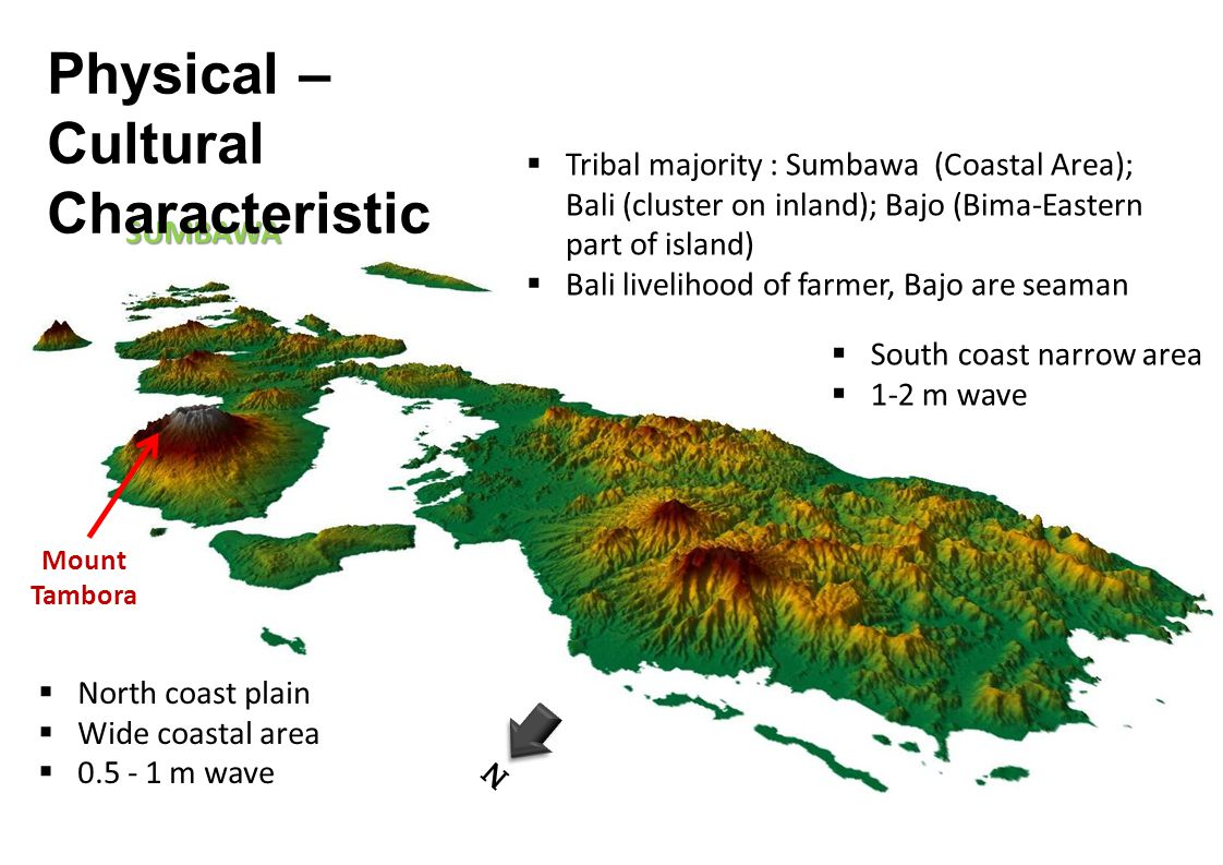 SUMBAWA Mount Tambora N South coast narrow area 1-2 m wave North coast plain Wide coastal area 0.5 - 1 m wave Tribal majority : Sumbawa (Coastal Area); Bali (cluster on inland); Bajo (Bima-Eastern part of island) Bali livelihood of farmer, Bajo are seaman Physical – Cultural Characteristic